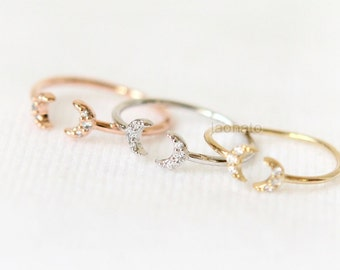 Tiny CZ Crescent moon Knuckle Ring / crescent moon ring, gold, silver, pink gold