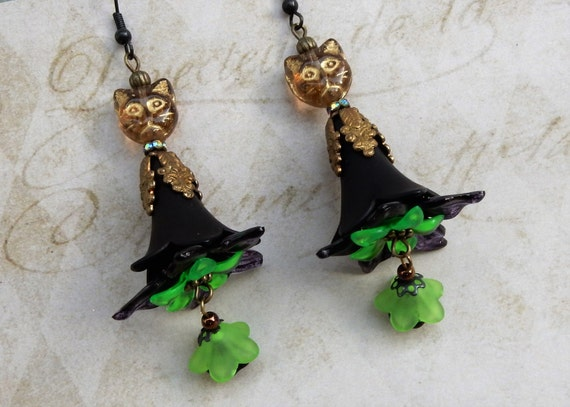 Wicked witch earrings witches hat earrings witch earrings for Cat in the hat jewelry