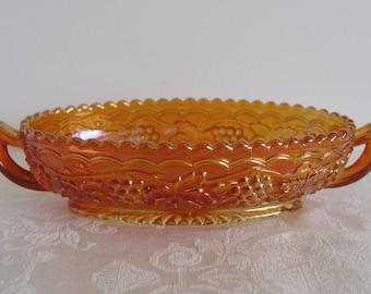 Vintage Imperial Mark IG Carnival GLASS Relish Dish Oval Bowl Marigold Grapes Design