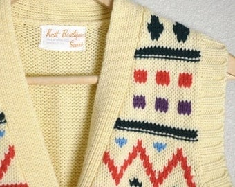 July SALE - 15% Off - Vintage 70s Native American/ Nordic Style Knit Vest // womens small-med