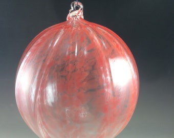 SALE Red Optic Hand Blown Glass Ornament