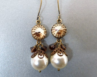 Golden crystal pearl earrings, ivory pearl, set rhinestone, antiqued brass, all Austrian crystal, champagne and ivory pearl bridal jewelry