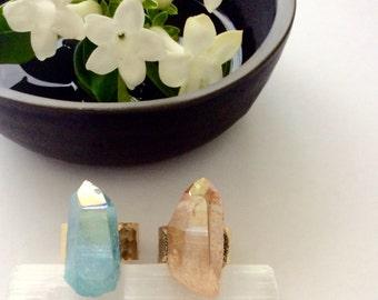 Raw Crystal Ring -Raw Rough Gemstone - Crystal Druzy- Adjustable - Mineral Ring - Crystal Mineral Jewelry
