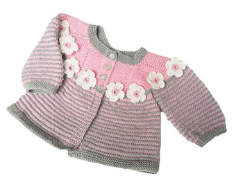 Knitted baby sweater, wool baby sweater, baby sweater, knitted baby jacket, READY TO SHIP