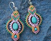 Dangle beaded earrings/ turquoise earrings/ summer jewelry