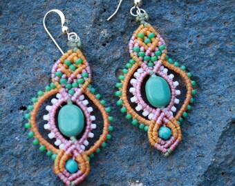 macrame earring, beaded earrings, boho earrings, colorful earrings, turquoise earrings, hippie earrings, gypsy, indian jewelry, makrame