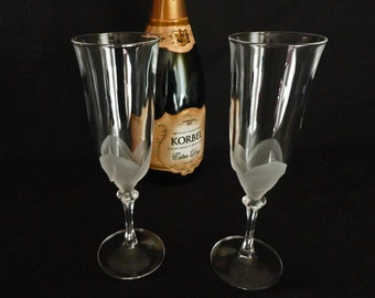 Two Champagne Toasting Flutes in Pattern Florence by Cristal D'Arques-Durand