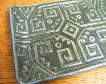 Handmade Pottery Tray, Serving Tray, Appetizer Tray, Blue Tray, Stamped Tray, Aztec Serving Tray, 0655
