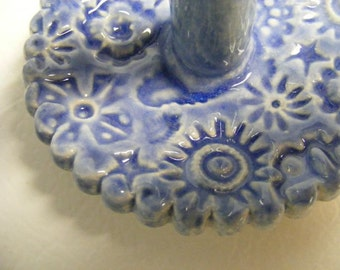 Handmade Pottery Ring Holder, Stamped Ring Holder, Ceramic Ring Holder, Blue Ring Holder, 0565
