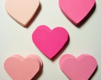 100 Mixed Pink Heart embellishments punch die cut scrapbooking E1668