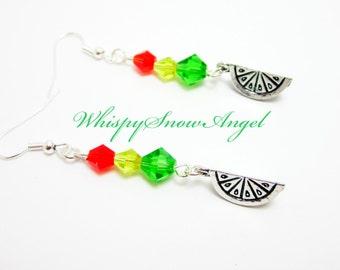 Fruit Earrings Lemon Orange Lime Slice Earrings Swarovski Bicone Elements Green Yellow Red Orange 314