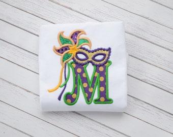 Girls Monogrammed  Mardi Gras Masquerade Mask Ruffle Shirt