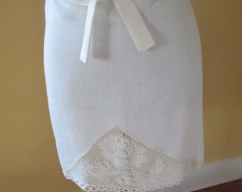Vintage Recycled Linen Half Apron