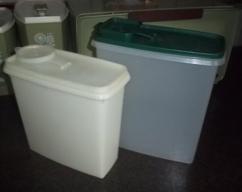 "Two Vintage Tupperware Sheer Cereal Keeper 10"" tall - green lid - 10"" sheer"