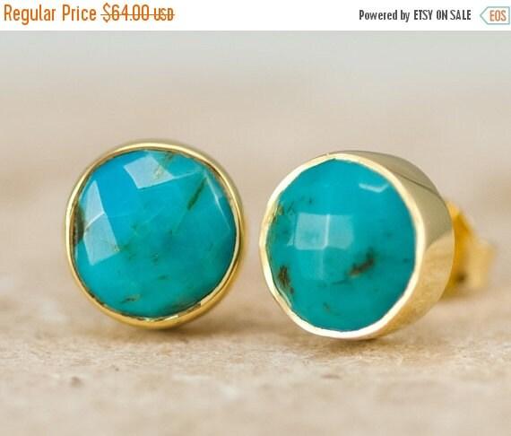 WINTER SALE - Turquoise Stud Earrings - December Birthstone Studs - Gemstone Studs - Round Studs - Gold Stud Earrings - Post Earrings