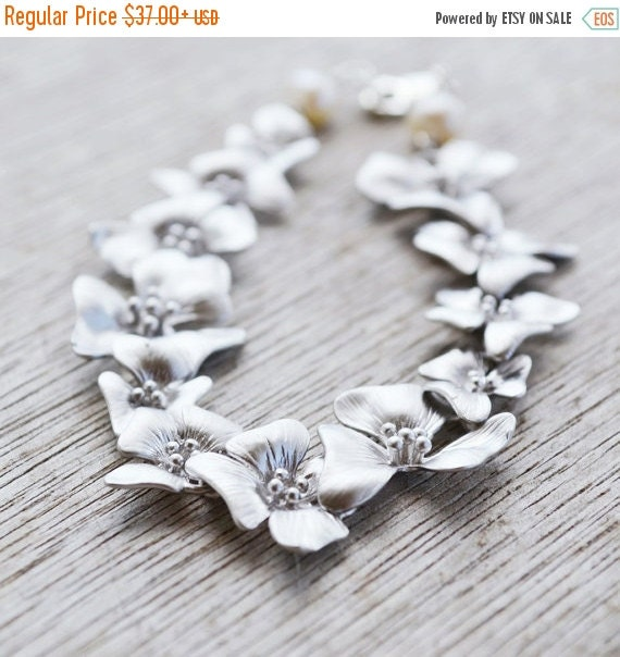 Cascading Silver Flower Bracelet, White Freshwater Pearls, Cherry Blossom Bracelet, June Birthstone, Wedding Jewelry, Gift Under 40