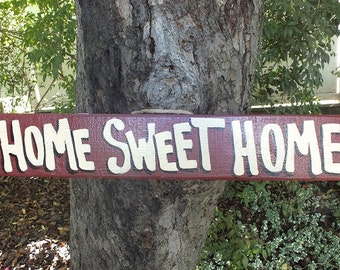 HOME SWEET HOME - Country Primitive Rustic Wood Handmade Pool Hot Tub Sign Plaque