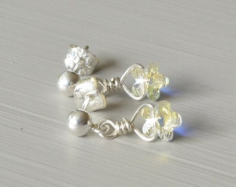 Crystal Flower Earrings, Swarovski Crystal Jewelry, Gift for Bridesmaid, Gift for Flower Girl