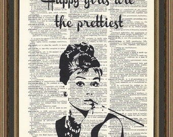 Audrey Hepburn quote Happy Girls are the Prettiest silhouette illustration printed on a vintage dictionary page. Girl's room print.