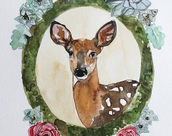 Woodland Nursery Floral Deer As Seen on Anthropologie Rustic Elegance Watercolor Print by Sarah Rose Storm