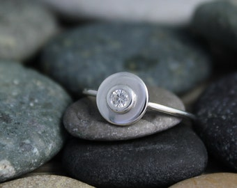 Sterling Silver Moissanite Ring - Alternative Halo Ring - Stackable Ring - Eco Friendly - Alternative Engagement Ring - Ready to Ship 6.5
