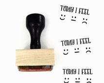 "Rubber Stamp ""Today I Feel"" - Mood Tracker For Your Planner - Emoji Smile Sad Neutral"