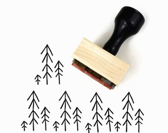 Tiny Forest Stamp - Christmas Holiday Nature Simple Pine Trees Rubber Stamp by Creatiate