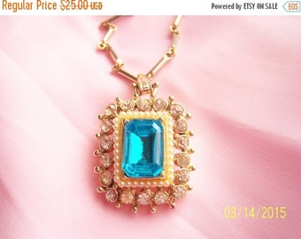 SALE Vintage Very Early Rhodium Plated Aqua Crystal Necklace