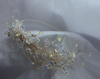 Side Tiara: 50% OFF total sparkle all Swarovski crystals on long silver stems winter woodland effect for bridal sparkle and shimmer