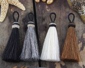"Horse Hair Tassels, Handmade, Natural Colors, Rustic Bohemian Jewelry Making Supply, Keychain, Western, Choose your Color, 3.5"" 1 Tassel"