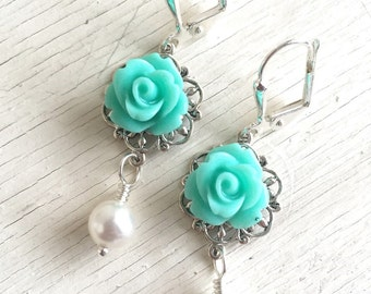 Aqua Rose and White Swarovski Pearl Dangle Earrings.  Bridesmaid Earrings. Bridal Jewelry. Aqua Seafoam Jewelry. Bridal Party Gift.