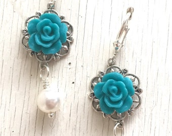 Teal Rose and White Swarovski Pearl Bridesmaid Earrings.  Dangle Earrings. Teal Wedding Jewelry. Bridesmaid Gift.