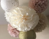 10 Tissue Pom and lantern set - rose quartz ivory and gold decorations - rustic wedding and shower decor - dusty rose pink and gold