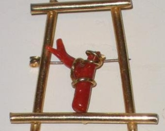 Vintage gold brooch with red coral 70s.