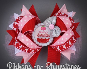 Valentine's Day Bow, Valentine Bow, Valentine Boutique Hair Bow, Daddy's Sweetie Boutique Bow, My First Valentines Bow, Valentine Gift
