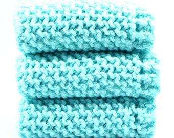 Three Cotton Knitted Dishcloths Aqua Shabby Cottage Kitchen Cleaning Wash Cloths