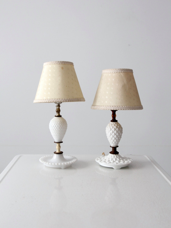 vintage milk glass lamp pair hobnail glass table lamps