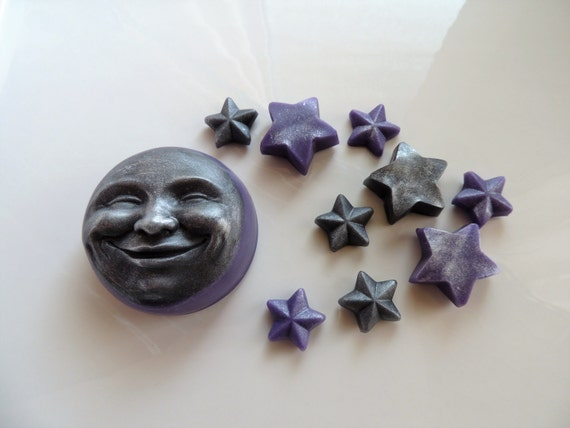 MOON SOAP, By the Light of the Lavender Silver Moon and Stars, Scented in Calabrian Bergamot & Violet