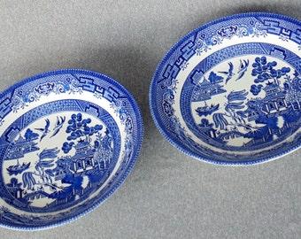 2 Soup Salad Bowls Blue Willow Churchill England PRISTINE