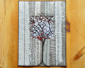 Original Textile Art, black tree, home decor, red black grey, Wall Decor, art to frame, red berries, botanical art, lace tree, lonely tree