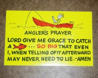 Humorous Fishing Postcard, Angler's Prayer
