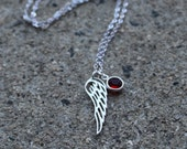 Miscarriage Angel Wing and Birthstone Sterling silver necklace. Remembrance Memorial Jewelry. Loss of a Child/Infant.