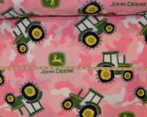 Springs Creative. John Deere. FLEECE. Tractor Camo Pink   - BTY - Choose your cut of fabric