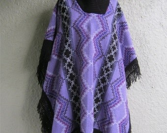 70s Knit Poncho - Blanket Poncho Style - Hippie Boho Shawl - Purple Stripe Poncho