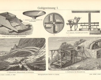 1904 Gold Mine, Gold Mining, Gold Mining Equipment, Mining Techniques Antique Engraving Print