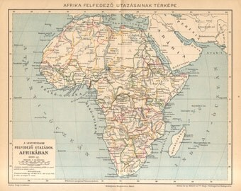1893 Original Antique Map showing the Routes of Expeditions, Exploring Journeys to Africa