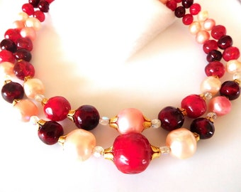 Vintage Necklace Double strand Cherry/Pink/Gold Chunky Statement 60s Style Fun and Funky!