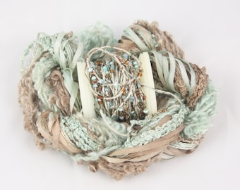 Duck Egg Blue Brown Beaded thread Silk ribbon Silk Embroidery thread seed beads sequin thread Hand dyed weaving yarn fiber art embellishment