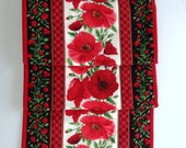Red poppy long quilted table runner ready to ship