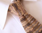 Hand Knit Necktie, Knitted Tie, Brown Tie, Striped Tie, Skinny Necktie, Hand Knit Tie, Knitted Necktie